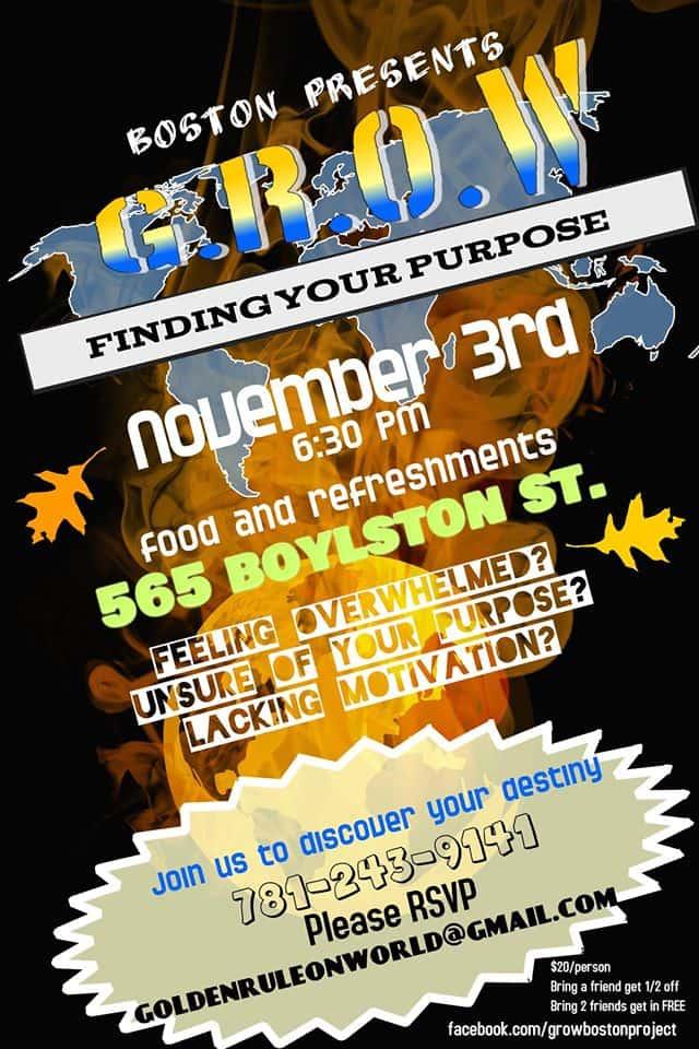 GROW Boston poster for Nov 3 event